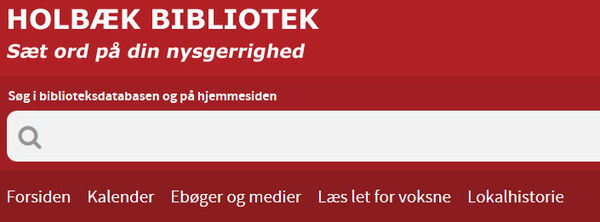 Holbæk Biblioteks hjemmeside